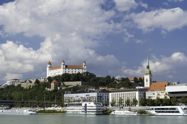 The iconic castle of Bratislava and St. Martin on the north bank of Danube