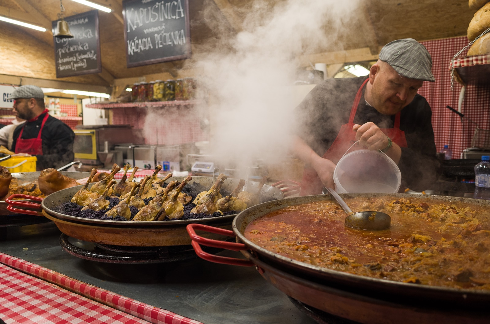 a street food cantine in Bratislava's Christmas Market