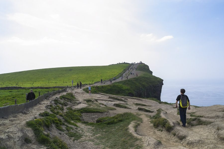 Tourists at the cliffs of Moher
