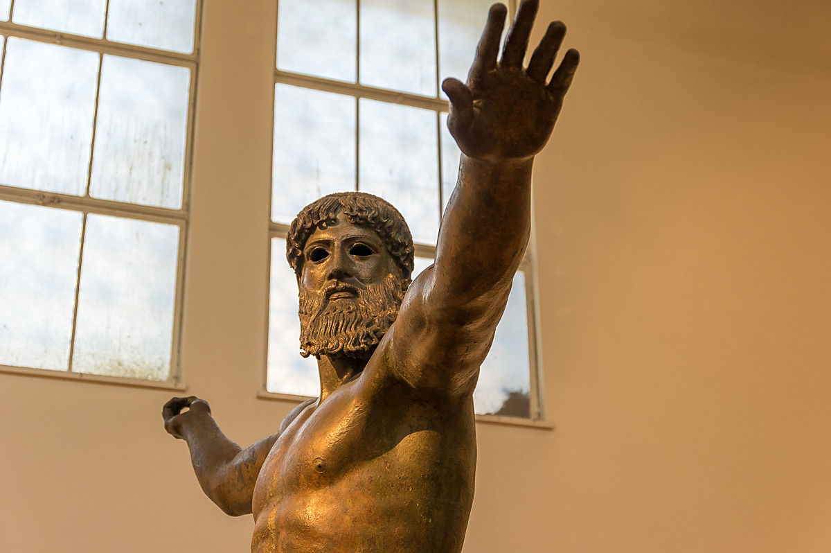 Bronze statue of Zeus or Poseidon in National Archaeological Museum