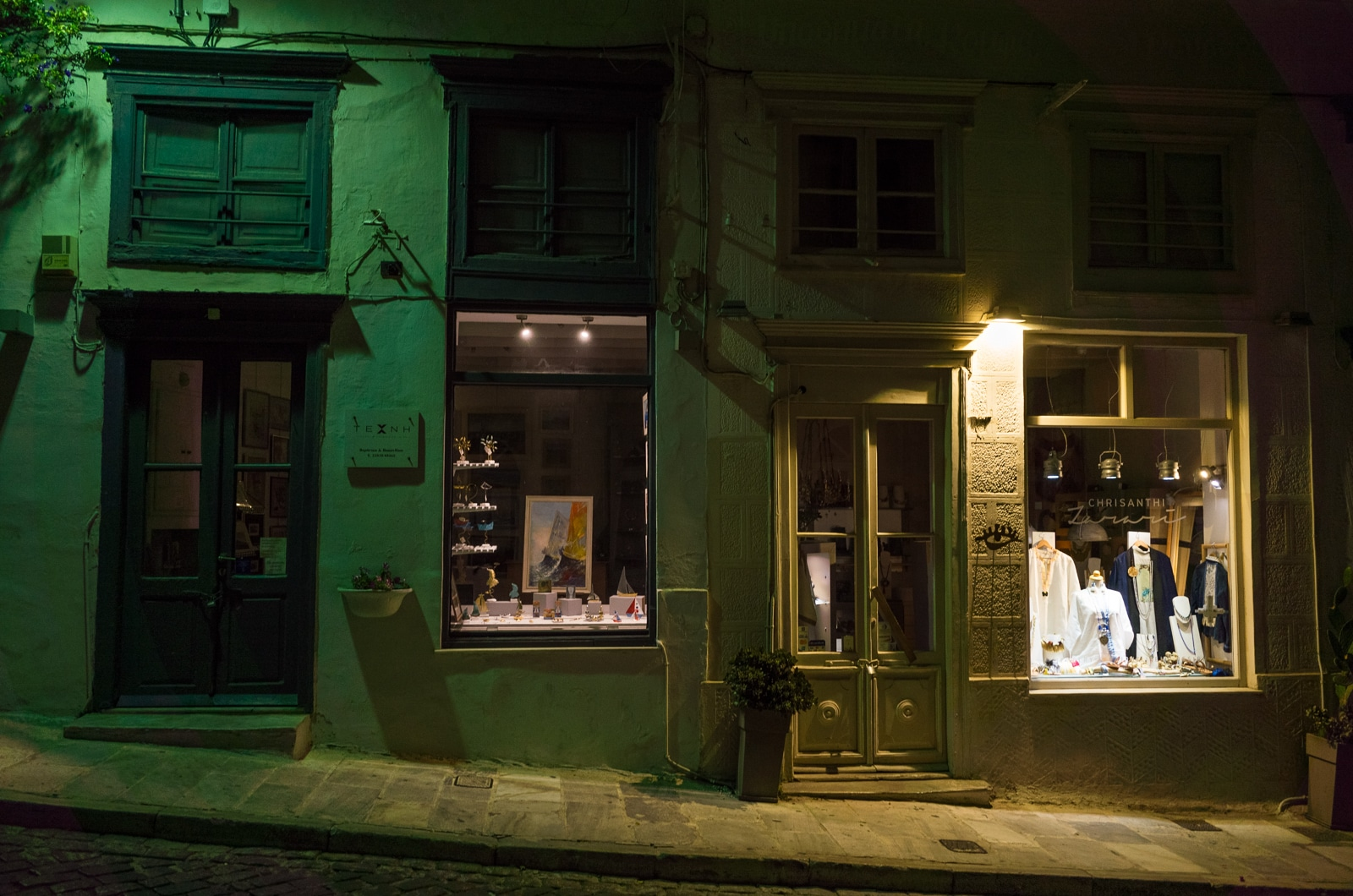 Syros : A Greek Island with Roman Influence Shops in the night