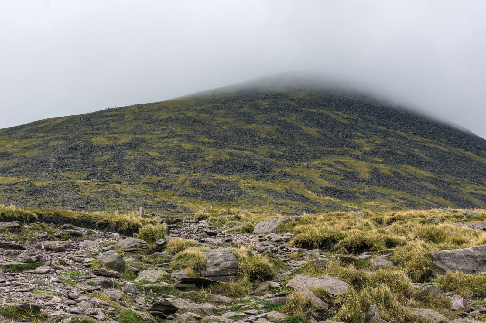the peak of Carrauntoohil inside clouds