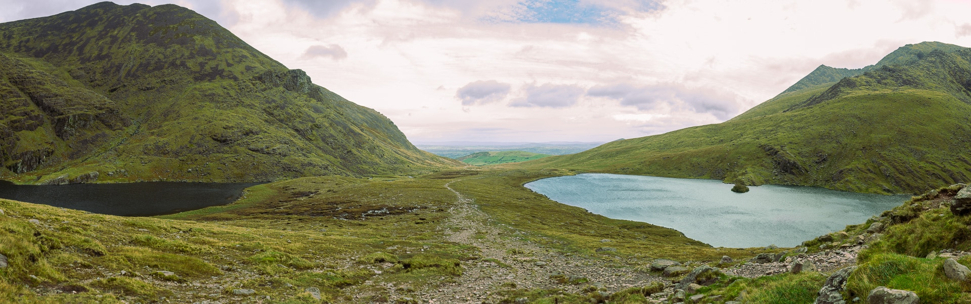 panoramic image of the lakes Gouragh and Callee