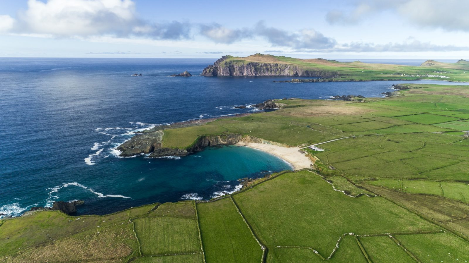 aerial shot of Clogher strand