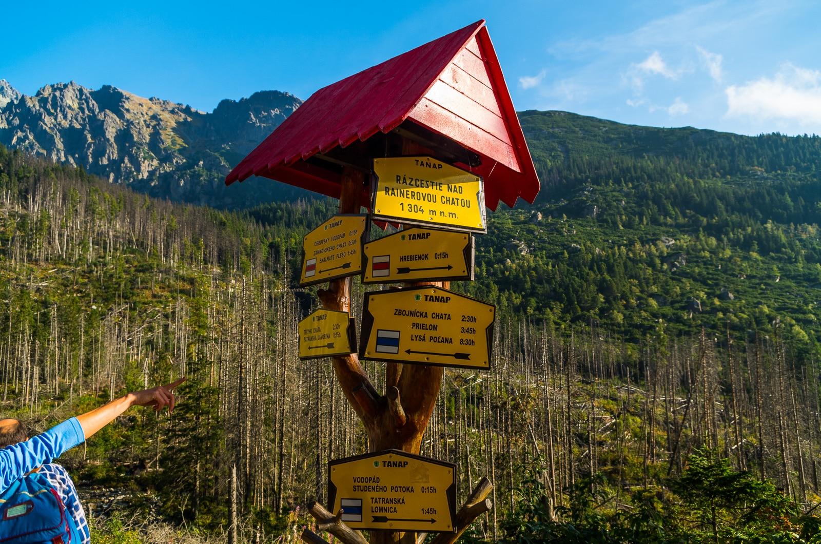 Hiking guide image of trail sign in slovakia
