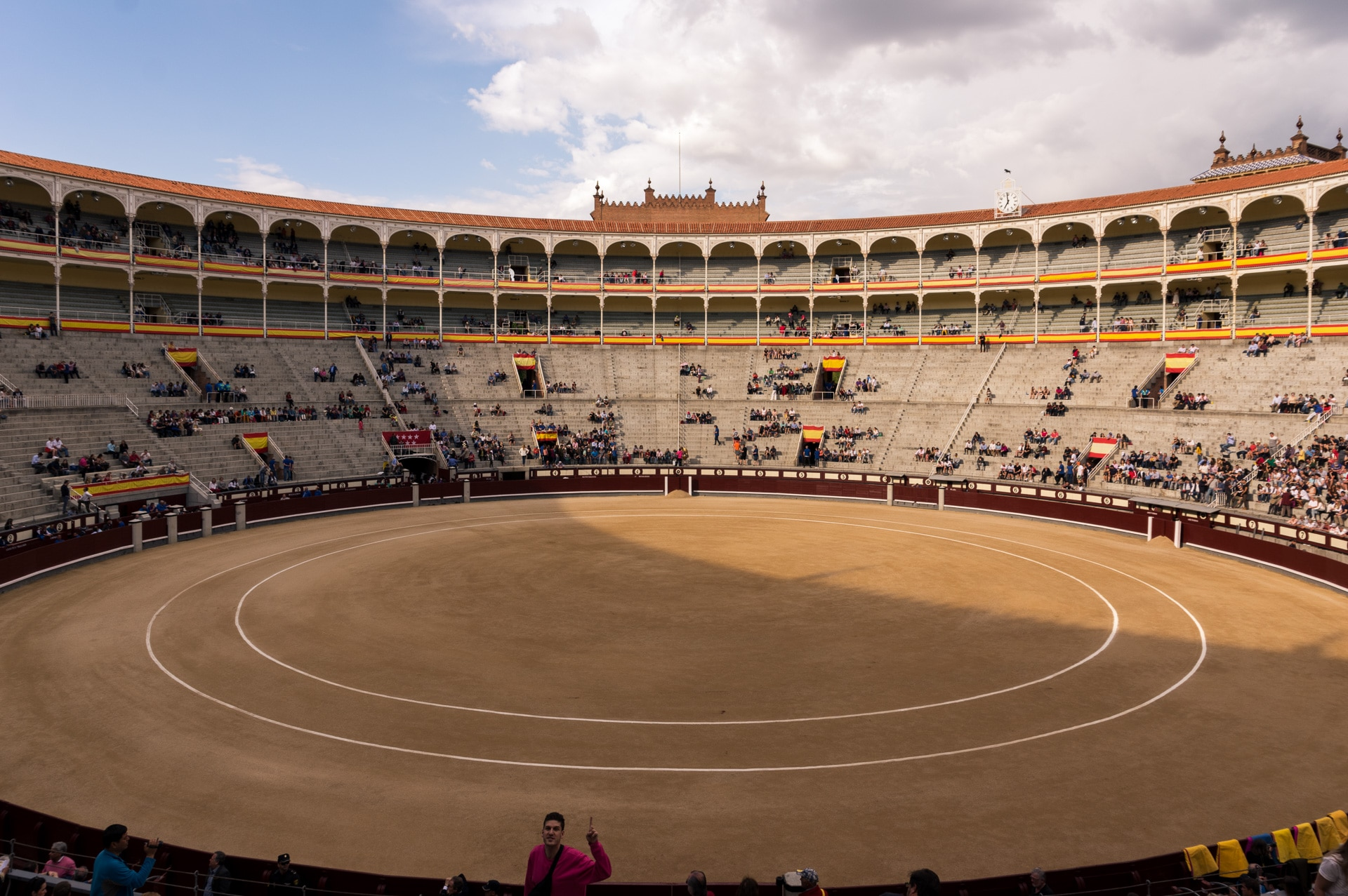 The ring before the start of a bullfight in the afternoon