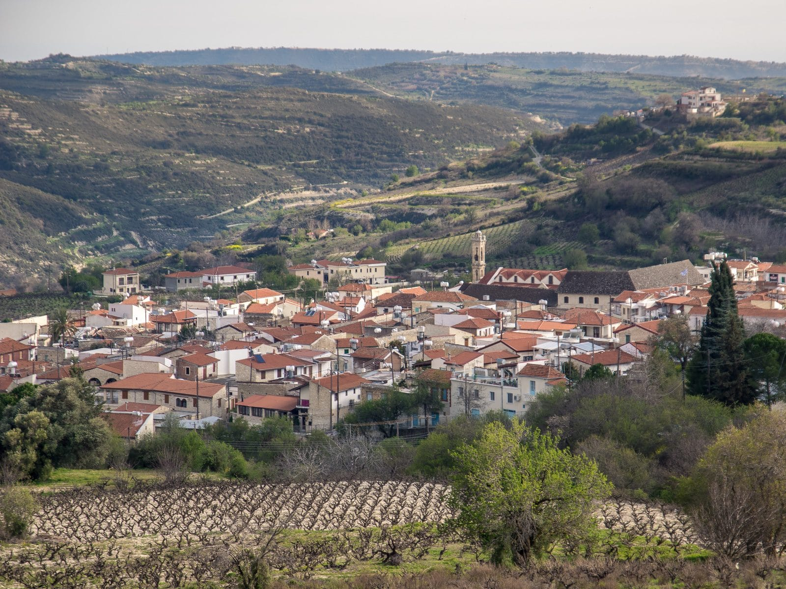 omodos wine village from a distance
