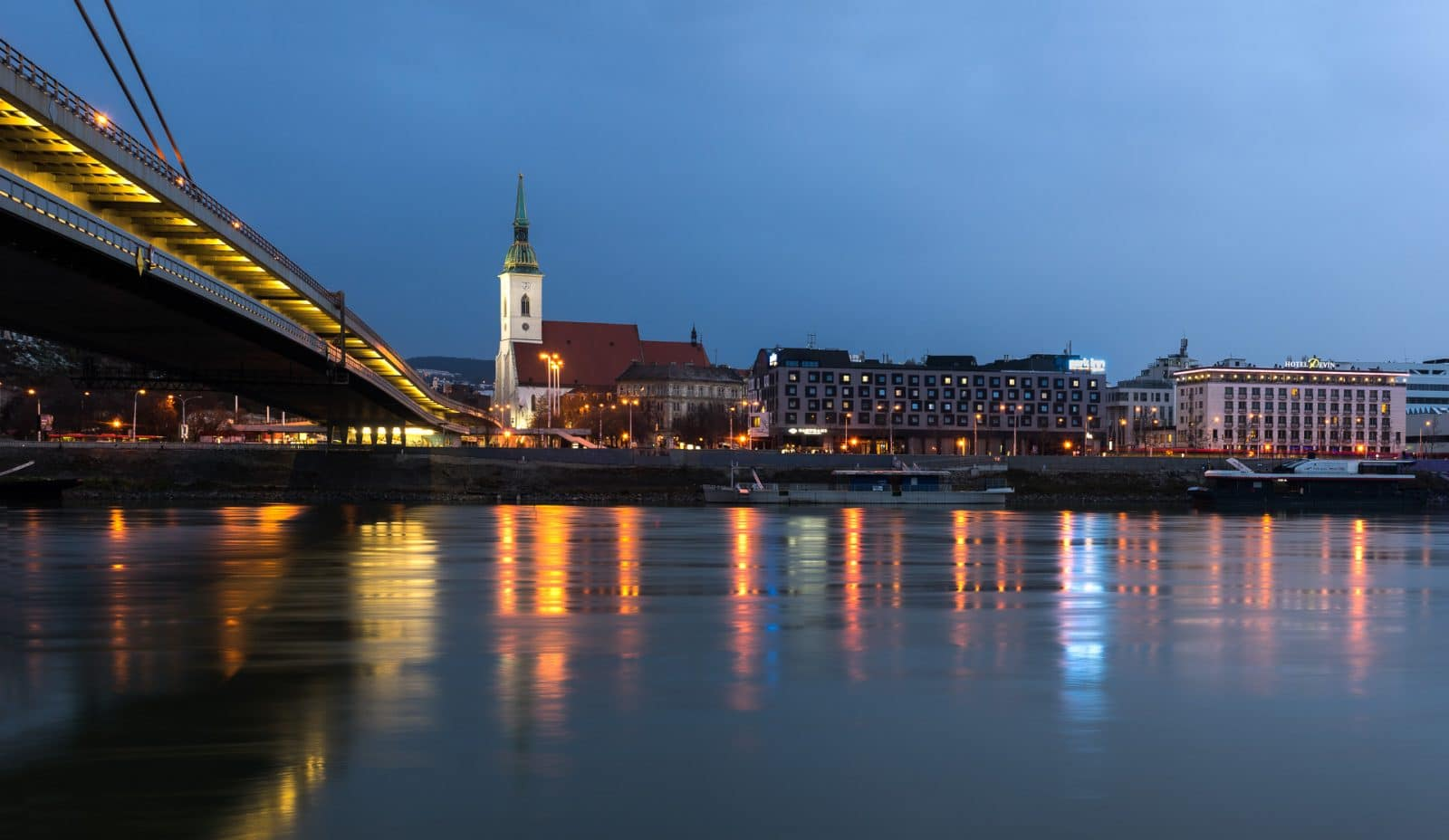 The left bank of Danube in Bratislava