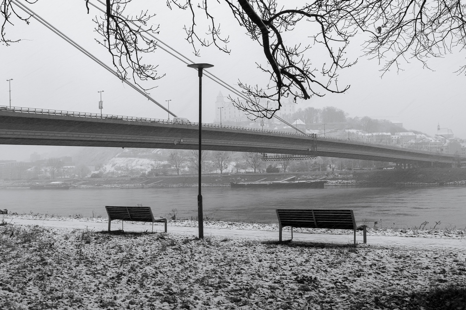 two benches on the bank of Danube with a suspended bridge in the background