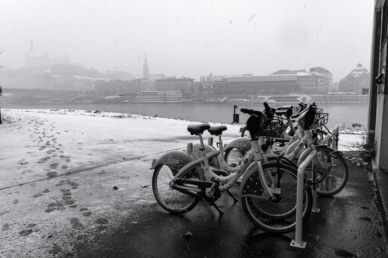 bicycles parked by river Danube in Bratislava