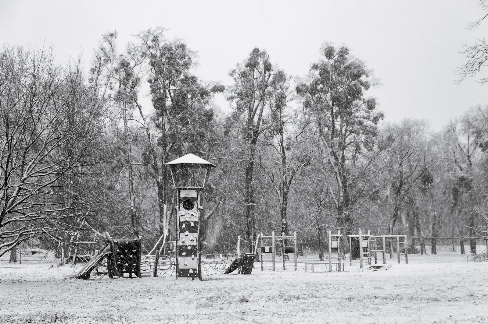 A snow covered playground