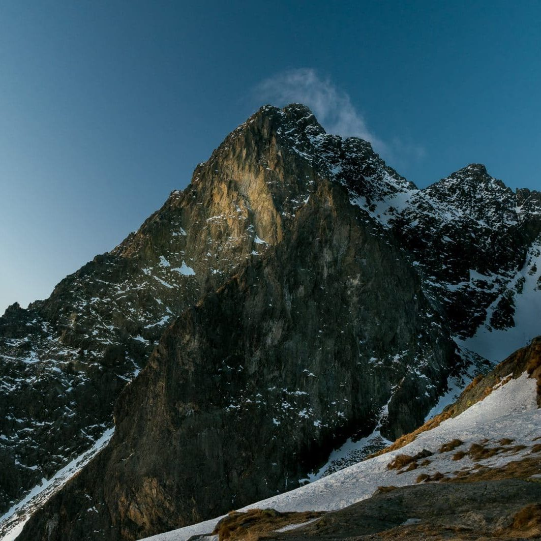 photo of a mountain in dawn